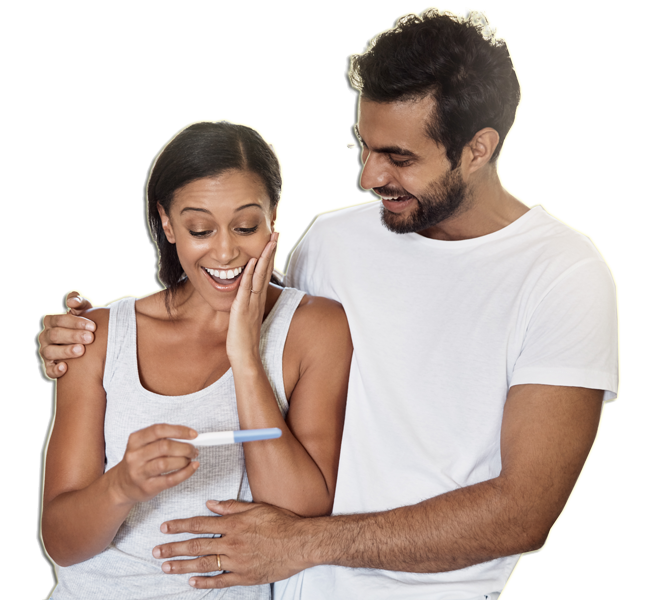 Image of couple with positive pregnancy test